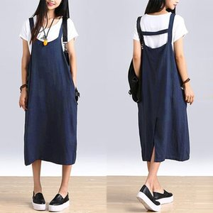 Vintage Strap Dress ZANZEA 2020 Women's Baggy Sundress Female Mid Calf Vestido Plus Size Split Summer Linen Robe Femme Oversized