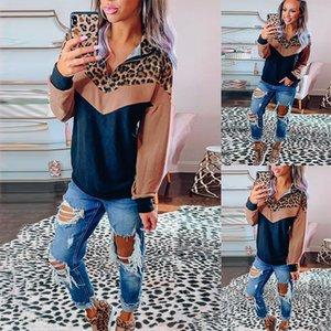 Tops del remiendo del leopardo de las mujeres suéter sudaderas otoño invierno encuentro casual collar cremallera sudadera con capucha Mujer Streetwear