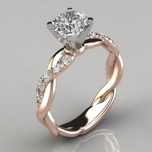 Anillo de mujer de marca de boda simple del estilo del cuadrado del corazón eterno Cubic Zirconia Ring Finger Torsión regalo de moda Side