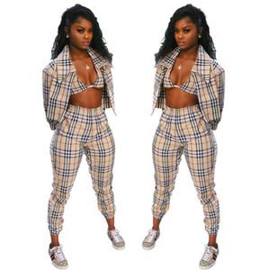 precio al por mayor 2020 de la marca ocasional otoño tela escocesa de la moda chándales conjuntos de tres piezas de las mujeres atractivas ropa deportiva de S-XL