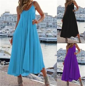 Sommerkleider Fashion Solid Spaghetti-Bügel-Low Cut Loose Kleider 20ss Frauen Designer-Kleider Women Casual