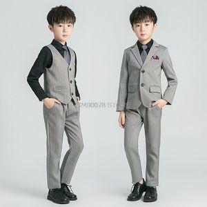 Kids Birthday Party jacket Vest Pants Bowtie 4Pcs Tuxedo Flowers Boys Formal Wedding Suit Children Piano Prom Ceremony Costume