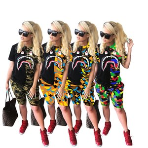 Women Summer Plus size 5xl panelled Printed tracksuits 2 piece sets Shark Mouth pullover Short Sleeve T-shirt+Shorts outfits sportswear 3255
