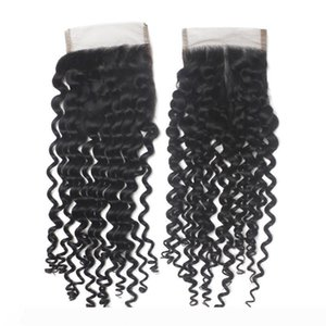 Virgin Peruvian Top Lace Closure Hair 4X4 Brazilian Remy Human Hair Afro Curly Wavy Hair Closure Pieces 1B Middle Part