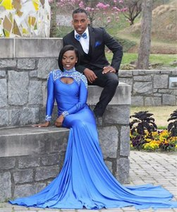 2020 Prom Dresses Mermaid High Neck Long Sleeve Sweep Train Evening Gowns With Beads Satin Hollow Back African Party Gowns