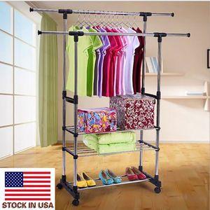 Bequemer Organizer Indoor Wäscheständer Dual Bars Horizontal Vertikal Teleskop Stil 3 Stufen Edelstahl Kleidung Kleidung Schuh