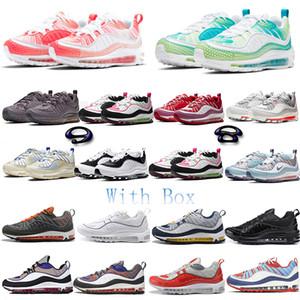 98 KM del paquete de burbuja de Halloween 3M Ejecución de los zapatos de cuero adentro hacia afuera 98GS BHM CNY para mujer para hombre Negro Oro zapatillas de deporte de los deportes con la caja