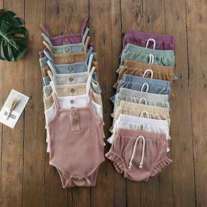 2 piezas de Bebé recién nacido ropa de niño Conjunto algodón sólido sin mangas camisola sin mangas con volados Bodysuit + shorts equipa