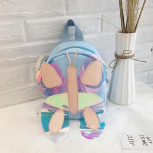 2020 yeni moda Çocuklar PU Kelebek Dekorasyon Sırt Çantası Çanta Mix Renk Fermuar Omuz Çantası