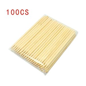 100pcs barras de uñas punta de taladro de punto de pluma pegatinas de presión bares de madera Sticks removedor de la cabeza del doble empujador de la cutícula uñas afiladas Herramientas