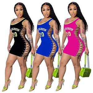 Impreso mini falda sin mangas vestido Carta diseñadores verano de las mujeres de una pieza del vestido de partido del club nocturno más el tamaño de Ropa para Mujer 8893