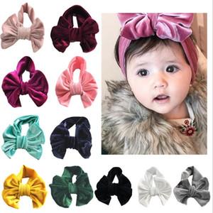 Baby Headbands Golden Velvet Big Bow Solid Kids Bowknot Princess Hairdress Elastic Infant Headwrap Boutique Hair Accessories 11 Colors D4630