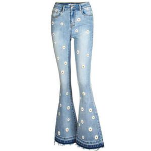 Kadınlar Blucin Yüksek Waisted Bell Bottoms Jeans Papatya Çiçek Baskılı Flare Jeans 2020 Streetwear Vintage Denim Jean Pantolon Yıkanmış