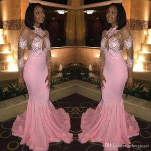 Sheer Long Sleeves Prom Party Dresses 2020 African Blacks High Neck Sheer Appliqued Pink Evening Gowns Illusion Bodice Custom Wear