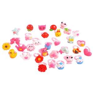 50pcs lot Children's Ring Plastic Animal Girls Princess Children Kids Combo Multi Patterns Child Gifts Finger Rings