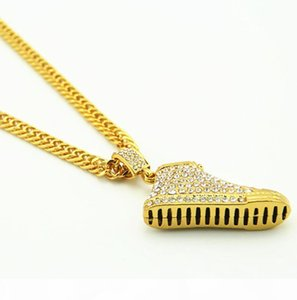 R Men &#039 ;S 18k Real Gold Plated Shoe Pendant Necklace ,Dense Cz With Free Cuban Chain 32 &Quot ;Fashion Hip Hop Jewelry