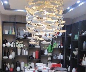 Personalizable Bencher simple creativo de la manera blanca Lámpara de cerámica del pescado Comedor Lámparas Iluminación Decoración lámparas pendientes