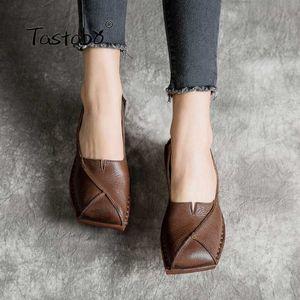 Tastabo mollete mujer parte inferior del zapato hecho a mano genuino de la vendimia de cuero suave y cómodo de sombreado antideslizante