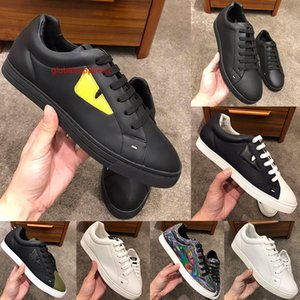 Mens Fashion Shoes Black and Yellow Leather Low-Tops Sneakers Man Lace-Up Top Quality Bag Bugs Eyes Flat Shoes with
