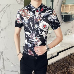 2020 Designer Slim Fit Shirts Medusa Men ss =2019 3D Gold Floral Print Mens Dress Shirts Long Sleeved Business Casual Shirts Males Clothes