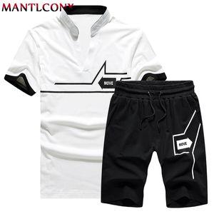 MANTLCONX T рубашка + шорты Комплекты Мужчинам Letter Printed летние костюмы Повседневный Tshirt Мужчины костюмы Марка Streetwear Топы Тис лето