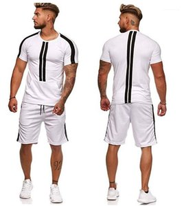 Panelled Two Piece Set Casual Short Sleeve Crew Neck Top Shorts Summer Mens Tracksuits Designer Striped