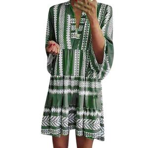 Manica corta vestito delle donne casuali di estate con scollo a V Vestido traspiranti tempo libero quotidiano Outfits per piece Vestiti Femme One