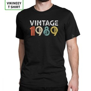 Men Anniversary T Shirt Vintage 1989 29th Birthday T-Shirts Novelty Short Sleeve Tee Shirt Crew Neck Clothes 100% Cotton Street