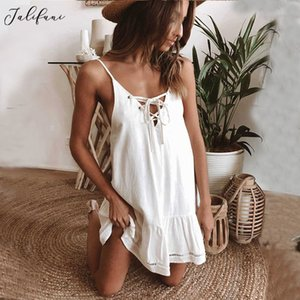 Women Sexy Deep V neck Mini Dress Summer Beach Lovely Bow White Sleeveless Strap Dresses Holiday Casual Vestido For Lady Clothes