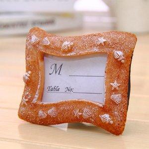 손님을위한 해변 테마 다채로운 수지 조개 장소 카드 홀더 미니 사진 프레임 결혼식 호의 경품 베이비 샤워 선물