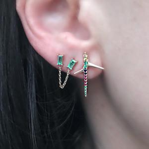 Double 2 piercing stud baguette birthstone cz with tassel chain romantic fashion girl women earring
