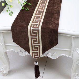 Extra Long 120 pollici Plain Patchwork pizzo Runner Casa in stile Velvet Table Mats tovagliette Europa American High End pranzo Tovaglia