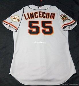 Barato Majestic SAN FRANCISCO 55 # Tim Lincecum GRIS EN CAMPO Jersey para hombre cosido al por mayor de grandes y altos TAMAÑO XS-6XL camisetas de béisbol