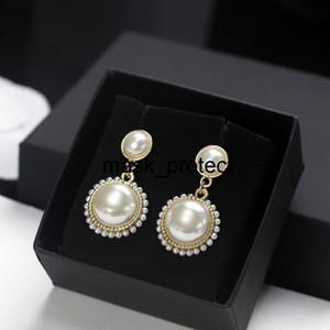 Pendientes perla PM2.5 libre de tipo de filtro lavable reutilizable máscara de gama alta tamaño de la perla Pendientes de cobre amarillo de agujas de plata 925 mujeres