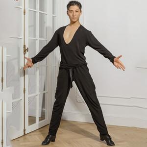 New Men Preto Dança Latina shirt Costumes competição Desempenho Ballroom Modern Salsa Tango Samba de dança latino Dancewear SL2161