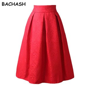 BACHASH New Faldas 2020 Summer Style Vintage Skirt High Waist Work Wear Midi Skirts Womens Fashion Red Black Jupe Femme Saias T200712