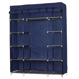 5-Layer Bedroom Detachable Portable Storages 12-Compartment Non-woven Fabric Wardrobe Closet Navy Clothes Storage