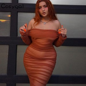 COSYGAL 2020 Spring épaules robe à manches longues maille femmes Robe moulante sexy double couche Night Club Party Robes Robes