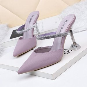 New Luxury Designer Womens Shoes Pointed Toe Pumps Rhinestone Ankle Strap Stiletto High Heels Slippers Fashion Ladies Wedding Party Shoes