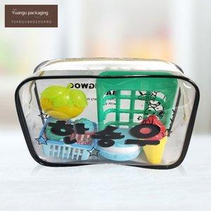 Korean cosmetics swimming goggles Swimming goggles storage bag PVC texture zipper transparent storage bag