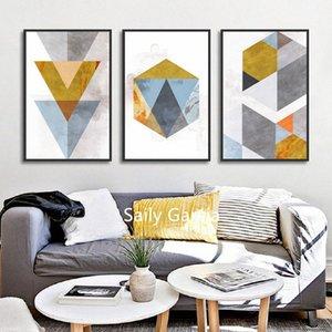 Triângulo abstrato Hexagon Geometria mosaico Pinturas Tela Combinação de pôster e impressão decorativa Wall Art Pictures Sala rBLI #