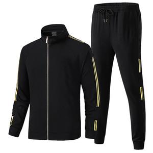 dos homens Treino Preto Sportswear Jacket + Pants Two Piece Suit Causal Treino de Futebol esportes ao ar livre Desgaste ativo Outono-Inverno Plus Size