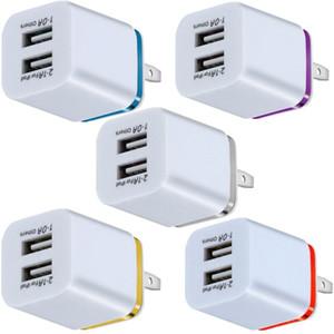 المعادن المزدوجة USB شاحن الجدار الولايات المتحدة الاتحاد الأوروبي التوصيل 2.1a ac محول الطاقة الجدار شاحن المكونات 2 منفذ آيفون 6 7 8 × XR XS Samsung Xiaomi Huawei