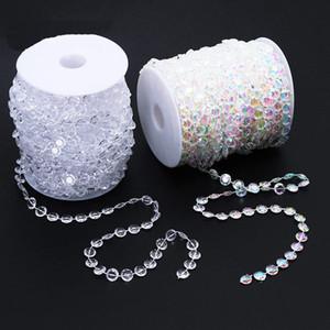 Decoración de la boda 30m octogonal acrílico granos del cristal iridiscente Cortina Decoración Garland Strand Partido Cortinas Shimmer 2color