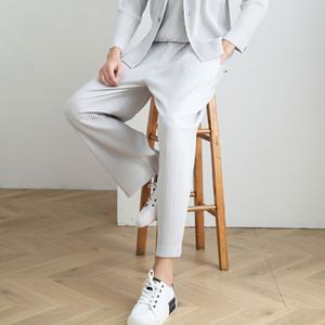 Miyake fois casual tendance pantalon sarouel droit d'automne des hommes lâches neuf points de course pantalon long occasionnels plissé de pantalons hommes