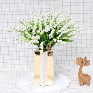 Real Touch Artificial Convallaria majalis Fake Plastic Lily von Valley Blumen Bouquet