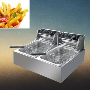 2500W 6L Electric фритюрницу Double Tank Корзина из нержавеющей стали Коммерческая Сковороды машина Гриль Fried Chicken Рыба Мясо