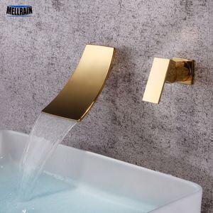 L'or noir séparé salle de bains robinet d'évier mural Cascade Style Mixer chaud Bassin d'eau froide Chrome robinet