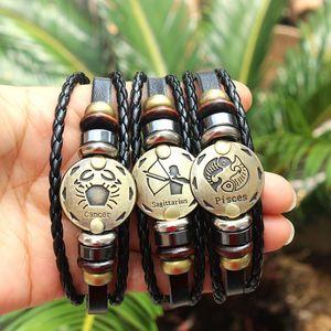 Dropshipping 12 constelações Charm Bracelet Pulseira couro do couro genuíno jóias corda para as Mulheres Homens Presente especial