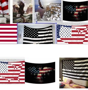 American Flag Tapestry Stripes USA Flag Hippie Tapestries 150*130cm polyester Wall Hanging Wall Tapestry polyester Beach Cover up KKA7972